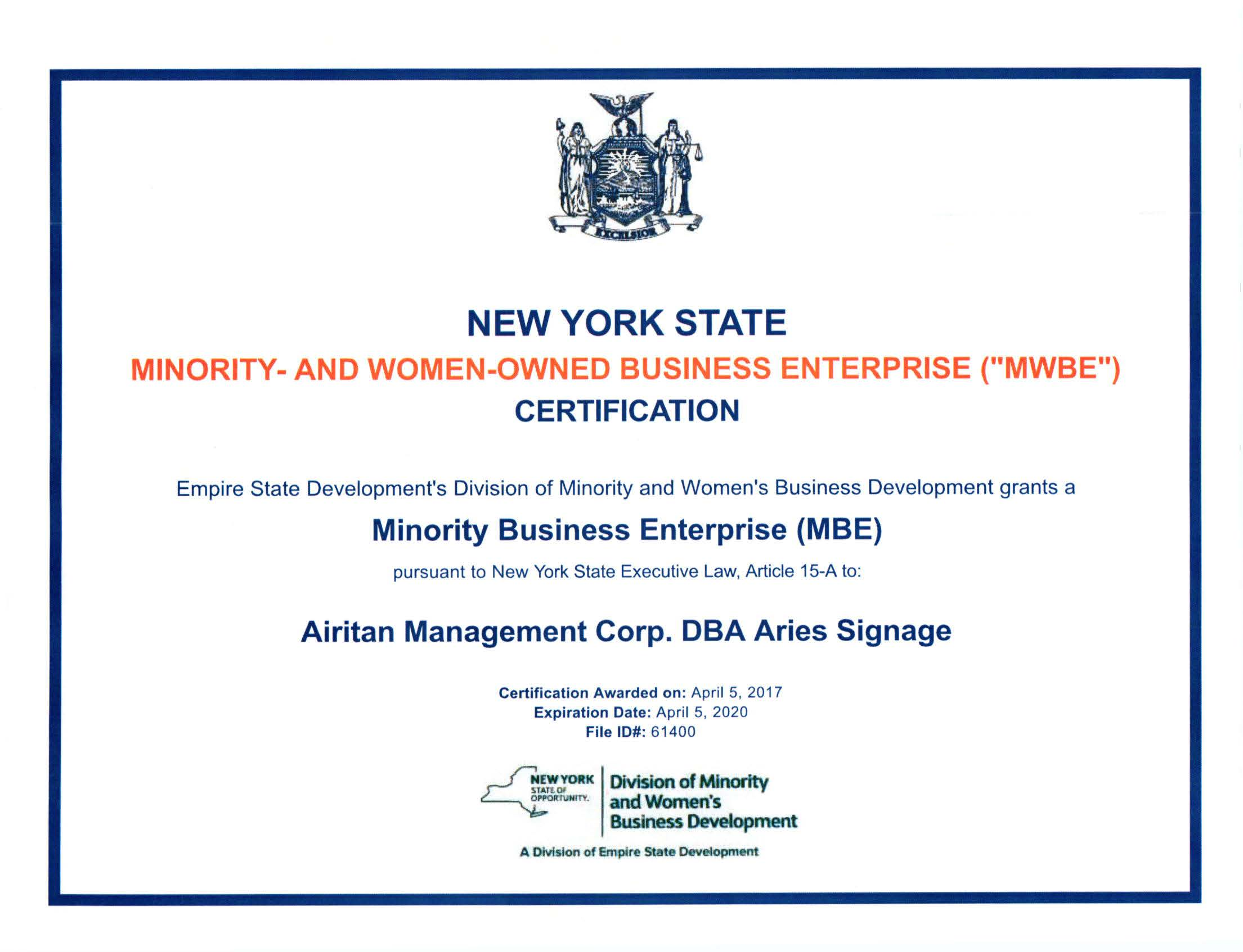 Nys Mbe Certificate Revised Copy Airitan Construction